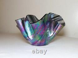 Vintage hand blown art glass handkerchief iridescent aurene vase bowl studio