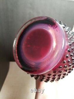 Vtg Fenton Art Glass Plum Opalescent Hobnail Stretch Pitcher Vase 14 with Handle