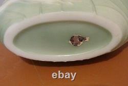 Vtg. Lg. Art Deco Phoenix Glass Sculptured Artware Geese Sculptured Artware Vase