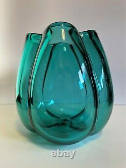 W Anderson Pinched late 1940 Sea Green Vase. Blenko Art Glass