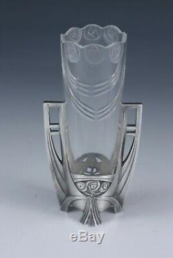 WMF Art Nouveau Jugendstil Secession vase, original silver plate and glass liner