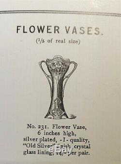 WMF Art Nouveau Jugendstil pewter vase with original green glass liner c. 1905