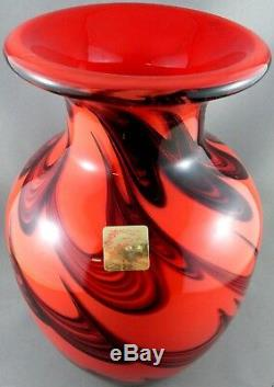 WOW Very Rare Vintage DOLPHIN GLASS Japan HEAVY THICK CRYSTAL ART GLASS Vase VG