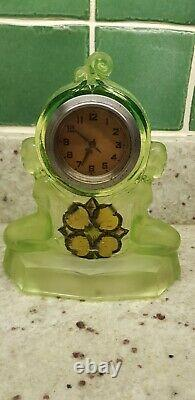 Walther and sohne art deco green glass clock matching vases