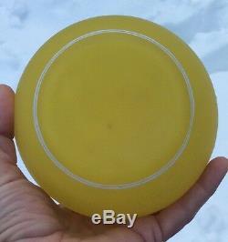 Webb Cameo Vaseline Art Glass Acorns & Oak Vase