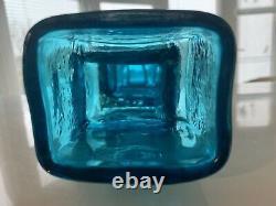 Whitefriars Glass Drunken Bricklayer vase Art glass. Kingfisher blue