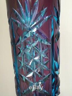 Wild Czech art glass vase 1960's cut and cased sommerso
