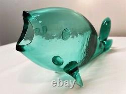 Winslow Anderson Blenko Sea Green Fish Vase. Decanter. MCM. Art Glass Sculpture
