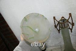 XL PAIR large art nouveau Acid etched glass Vase frame putti cherub rare