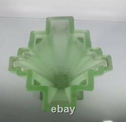 XRare Art Deco Bagley Frosted Uranium Green Glass Grantham 334 8 Vase Excellent
