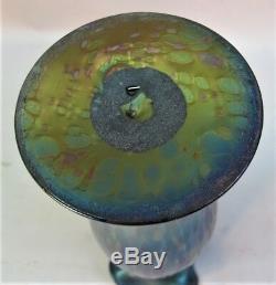 11 Antique Fin Kralik Bohemian Iridized Art Glass Vase À L'huile Spots C. 1920