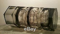 12.25 Josef Hoffmann Art De La Table Sculpture Moser Fase En Verre Fumé Vtg MCM Tchèque