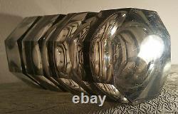 12.25 Josef Hoffmann Sculpture D'art De Table Moser Vase En Verre Fumé Vtg MCM Tchèque