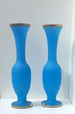 15 Vases En Verre D'art Français Baccarat Opaline Bleue