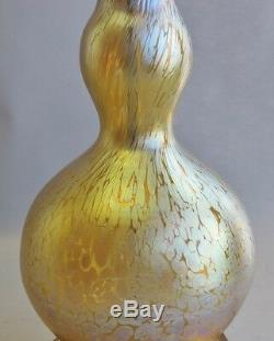 16 Grand Jaune Iridized Loetz Pappilon Art Lampe En Verre C. 1920 Vase Antique