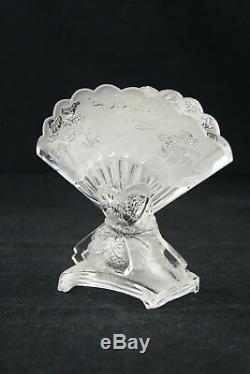 1900, Baccarat Fan Vase En Cristal Clair Papier Deco Art Nouveau France Signé