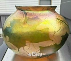1900 L. C. Tiffany Favrile Art Glass Vase Signé & # Grande Taille Superbes Couleurs