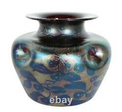 1900 Loetz Dek I/117 Pn Ii-753 Pistletoe Rubis Irisé Art Nouveau Vase En Verre