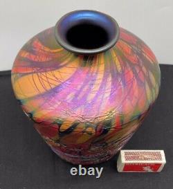 1925 Fenton Art Glass Off Hand Line Mosaic 19 CM Vase Avec Filetage Appliqué