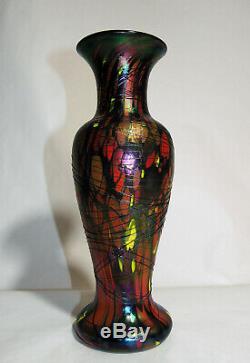 1925 Fenton Vase En Verre À Motif De Mosaïque Fileté Irisé De 11 Pouces Numéro De Catalogue 3008
