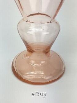 1930 Art Déco Tchèque Nervuré Rose Fileté Vase En Verre Vert Kralik Loetz Fil
