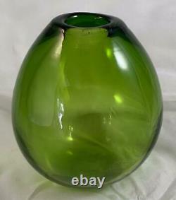 1950 Holmegaard Signé Art Glass Majgrøn Mai Green Drop Vase MCM Danois