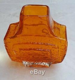 1960 Whitefriars Texturé Tangerine Art Glass Vase Tv 9677 Geoffrey Baxter
