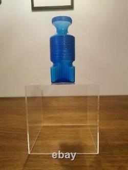 1970s Hooped Textured Art Vase En Verre Espace Âge Inconnu Fabricant 19cm De Haut