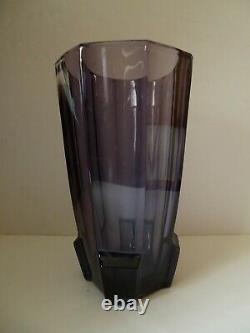 199,99 $ Vente Moser Art Glass Améthyste Vase De Coupe À Panneaux Non Signé