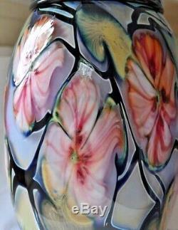 1994 Charles Lotton Art Vase En Verre 11 Multi-flore Signé