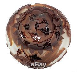 1998 Kelsey Murphy Profondément Sculpté Cameo Art Glass Vase Lidded Jar Nageurs & Ivy