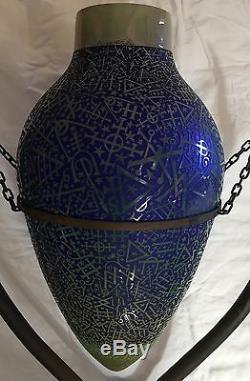 19c Art Deco Vase Amphore En Verre Gravé Par Duncan Mcclellan Sur Stand Signed