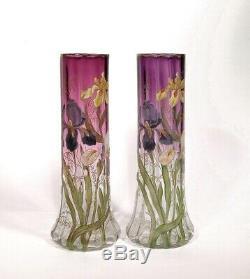 2 Antique Legras Français Art Nouveau 14 Émaillé Iris Vases France