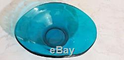40cm De Hauteur XL Vase De Doigt En Verre Bleu Art Murano Sapphire Soufflé À La Main Rare Vintage