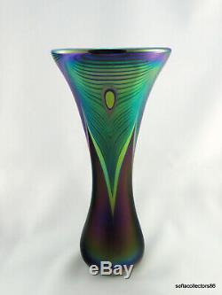 Abelman Grand Iridescent Plume De Paon Studio Art Glass Vase Daté Et Signé