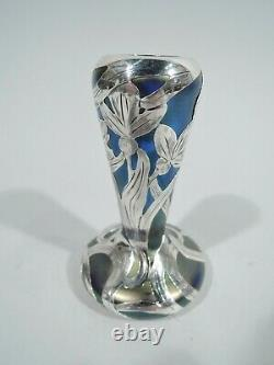 Alvin Vase 3375 Art Nouveau Austrian Glass Iridescent Silver Overlay