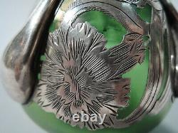 Alvin Vase 3418 Art Nouveau Américain Irisé Vert En Verre D'argent Overlay
