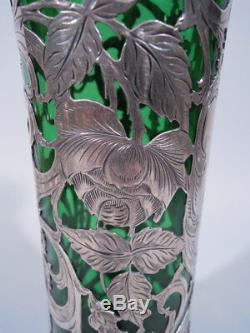 Alvin Vase G3326 Art Nouveau Américain, Émeraude Verre Verre & Argent
