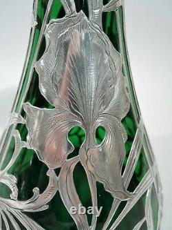 Alvin Vase G3458 Antique Art Nouveau American Green Glass Superposition Argent