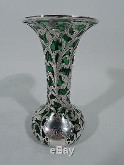 Alvin Vase G387 Art Nouveau Américain Verre Vert Verre Et Argent Surimpression