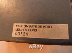 Amazing Boxed Daum France - Signé Pate De Verre Deux Poissons Art En Verre