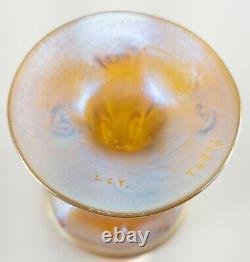 Ancien Louis Comfort Tiffany & Co Favrile Aurene Vase De Coupe En Verre D'art Irisé