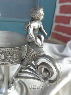 Ancien Support De Plaque D'argent De Chérubin Victorien, Vase En Verre D'art Violettes Peintes
