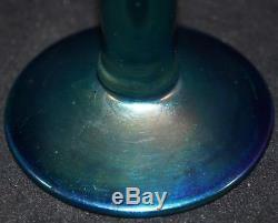 Ancien Vase En Verre À Bourgeon D'art De Steuben Art Bleu Finition Aurene C Époque 1920 Carder Signé