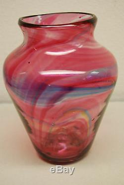 Anglais Hartley Wood Arts Crafts Verre Art Nouveau Antique Vase Soufflé À La Main MCM