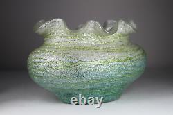 Antique 19ème Siècle Art Nouveau Iridescent Lava Vase En Verre Fileté Poss Loetz