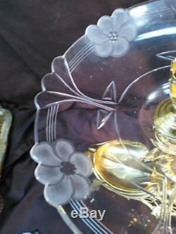 Antique Art Ancien Nouveau Femme Argent Plaqué Or Figural Verre En Cristal Vase Épergne