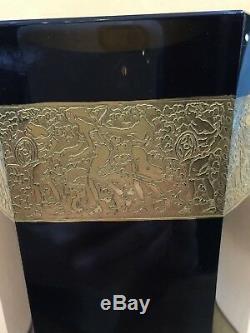 Antique Art Déco Moser Signé Tchécoslovaquie Noir Oroplastic Vase En Verre