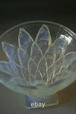 Antique Art Déco Sabino Poissons Vase En Verre Opalescent