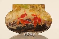 Antique Art Glass Signé Daum Nancy Art Nouveau Vase Avec Fleurs Rose-hanche